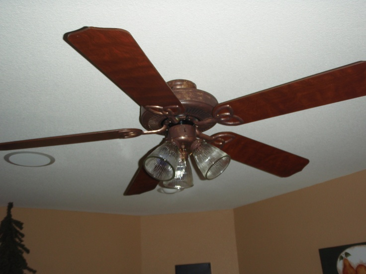 Updated Ceiling Fan   Stained The Blades A Darker Color And Panted The  Bright Brass Parts