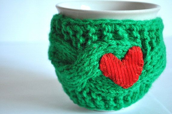 Mug Cozy Cup Cosy Mug Warmer knitted green color by LilacGifts