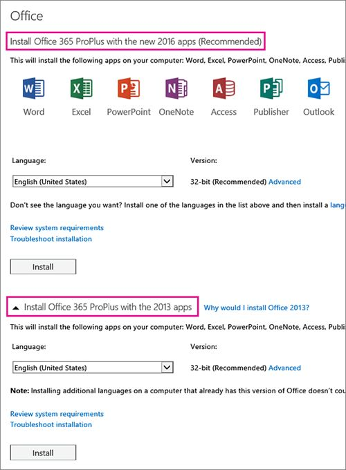 If you have a choice, select which version of Office you want to install, select a language, and then select Install.