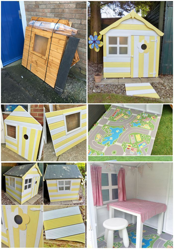 A children's playhouse from start to finish. White and yellow stripes, village track lino flooring, curtains and a tablecloth!
