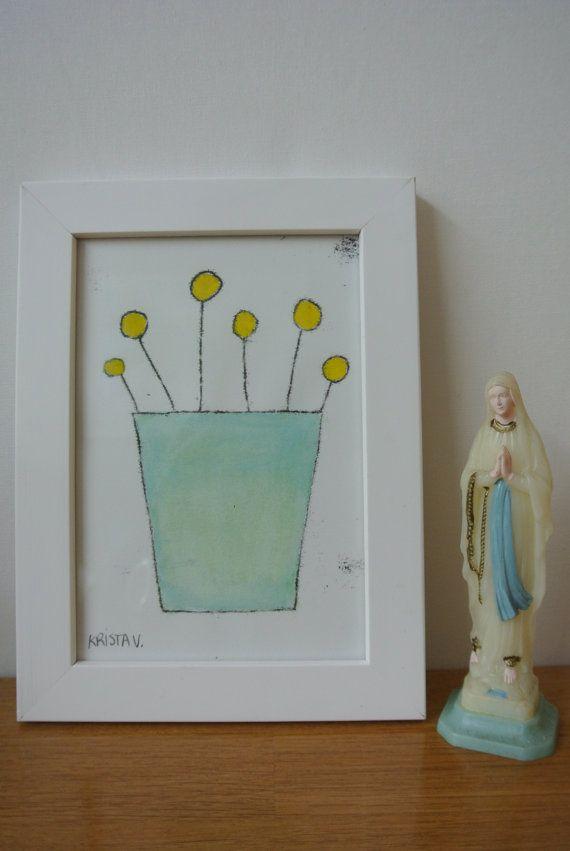 Monotype 'Bloemetje' zachte bloemenvaas uniek door Kriskroskras