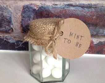 50 x Mint imperials wedding favors - 'Mint to be' rustic sweet jars