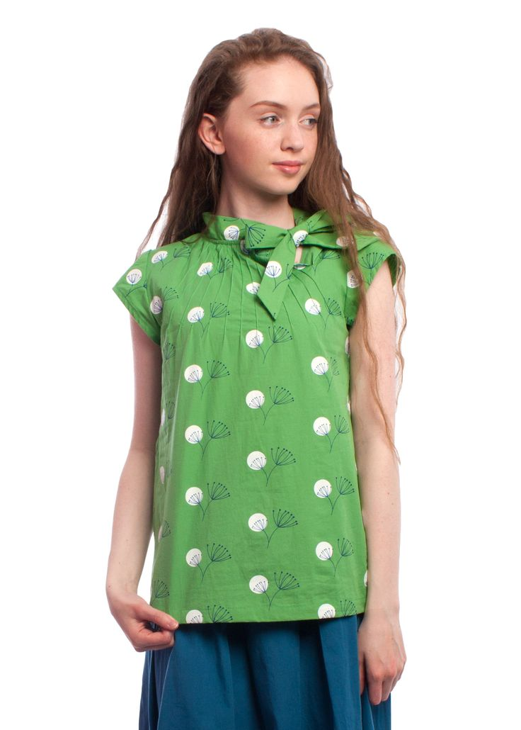 Retro #1950s dandelion print Anna top from Circus #green #retro #blouse #vintage #style #circus #carousel #fashion