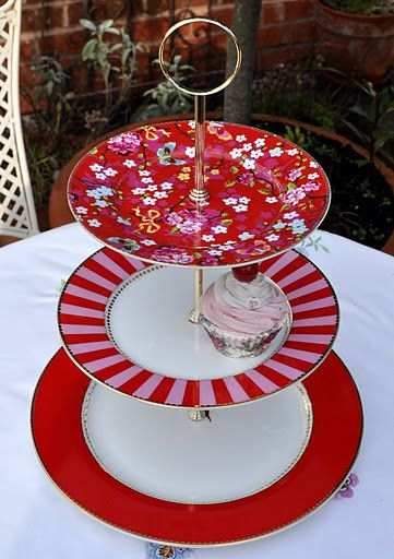 PiP Studio Pink and Red Floral 3 Tier Cake Stand & 336 best Things To Make With Old China \u0026 Glass images on Pinterest ...