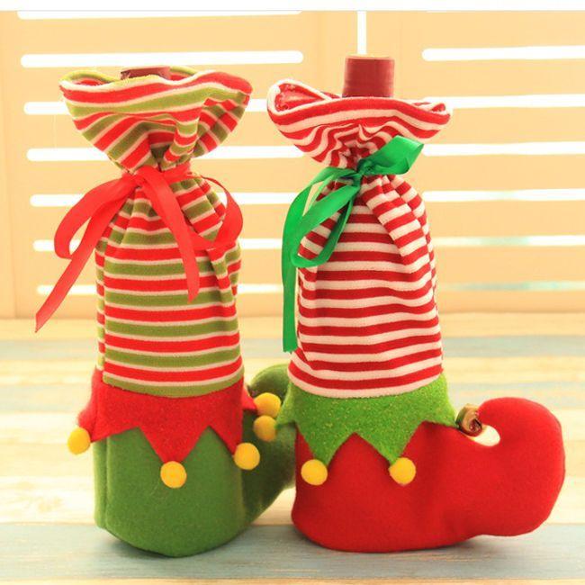 Christmas Candy Bags Elf Foot Wine Stocking Bottle Holder Xmas Decor Gift Bag