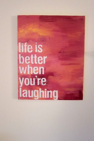 Nice art for the bedroom or entry way to remind you to keep smiling. Would be an easy DIY project as well.