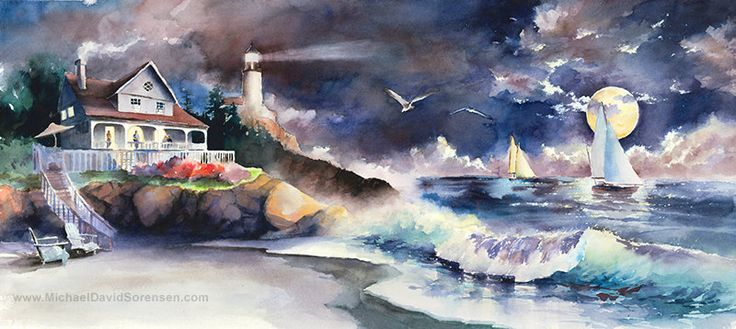Noche pacífica Faro acuarela pintura por MichaelDavidSorensen