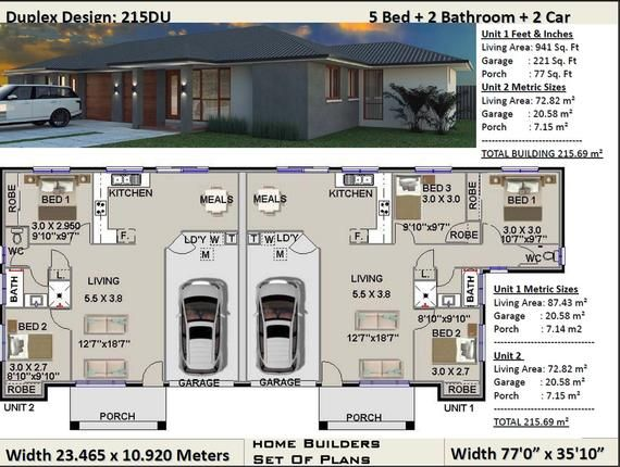 Duplex House Plans 5 Bedroom Duplex Design 3 X 2 Bedrooms Duplex Design Modern Duplex Plan Australian Duplx Concept Floor Plans Sale In 2021 Duplex Design Duplex House Plans Duplex Floor Plans