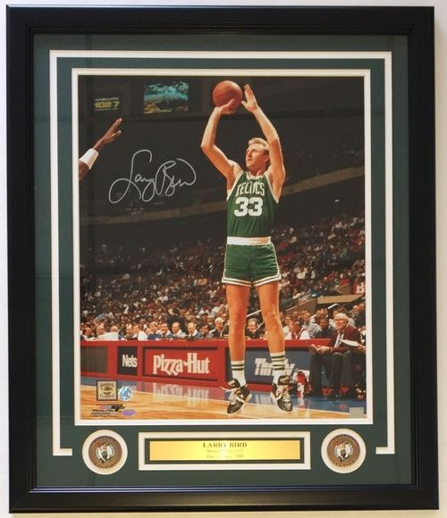 Larry Bird Signed Framed 16x20 Boston Celtics Green Jersey Photo SI+Bird Holo