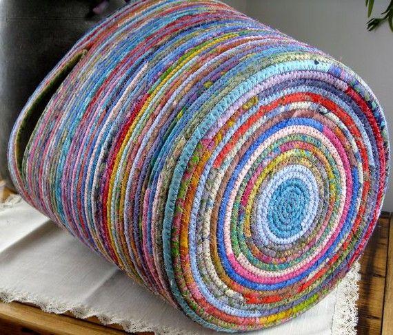 Repurposed Clothesline Coiled Fabric Basket Tote Bag Colorful Batik