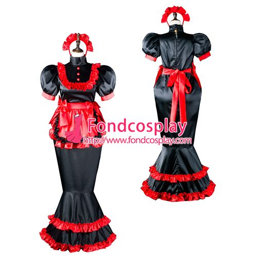 Sissy maid satin dress lockable Uniform cosplay costume Tailor-made[G2406]