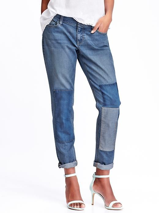 Old Nsvy Women's Boyfriend Skinny Ankle Patchwork Jeans