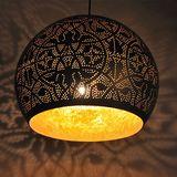Interliving.nl - prachtige, oosterse producten! Hanglamp bol filigrain-stijl metaal mat zwart finish met binnenkant goudkleurig