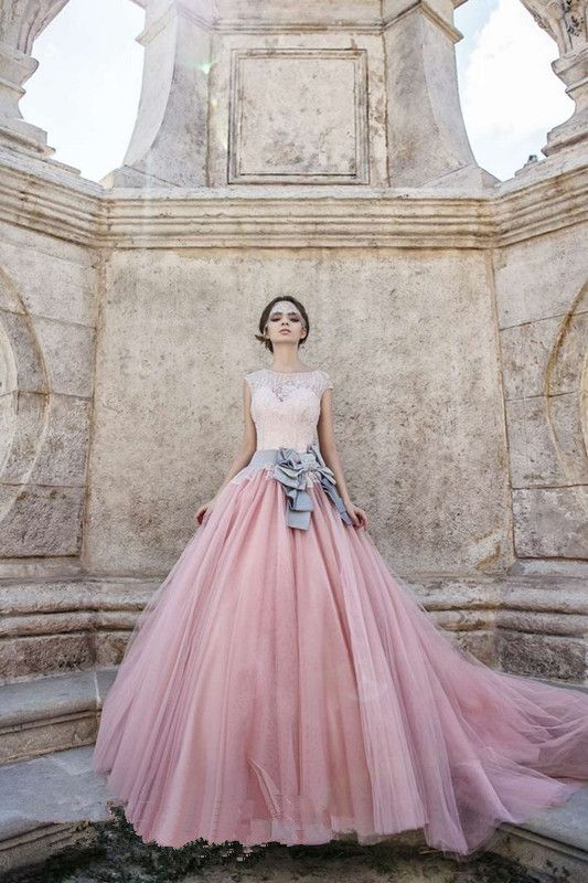 vestido de noiva princesa Tulle 2014 Vintage Lace Wedding Dress Pink Free Shipping New Long Train Ball Gown Wedding Dresses