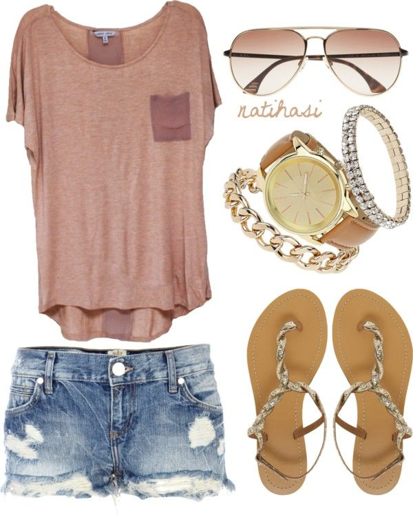 We ❤ this! big, girly t-shirt (half-tucked?); sunglasses; jean shorts; chunky jewelery; patterned belt; funky sandals