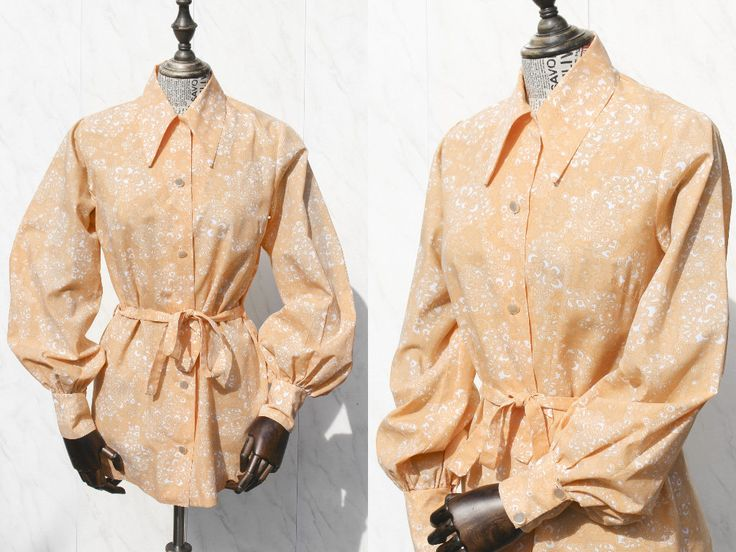Vintage Orange Womens Blouse with Waist Belt • Button Down 70s Shirt • Bishop Sleeve Disco Shirt • Womens Shirts • Boho Hippie. M by Venelle on Etsy