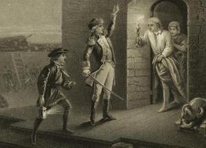 American Revolution: Capture of Fort Ticonderoga: Ethan Allen captures Fort Ticonderoga, May 10, 1775