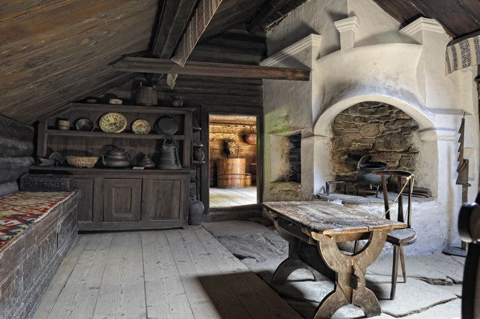 Interior Of An Old Swedish Cottage Natural