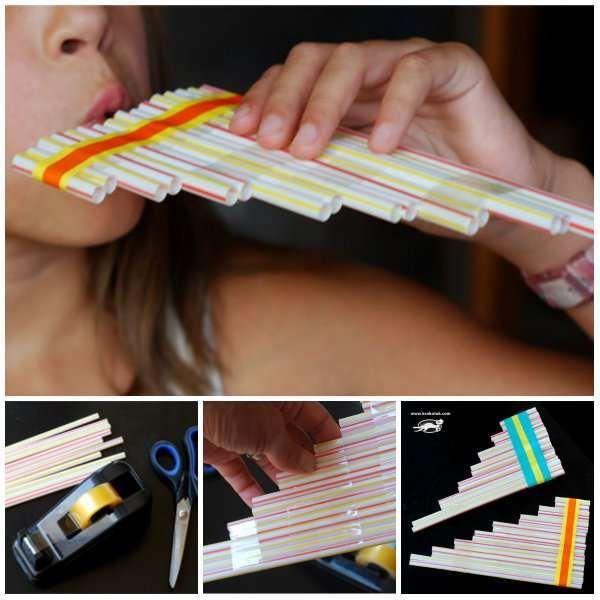 Flûte de pan avec des pailles en plastique.  16 Instruments de musique DIY qui vont ravir vos enfants