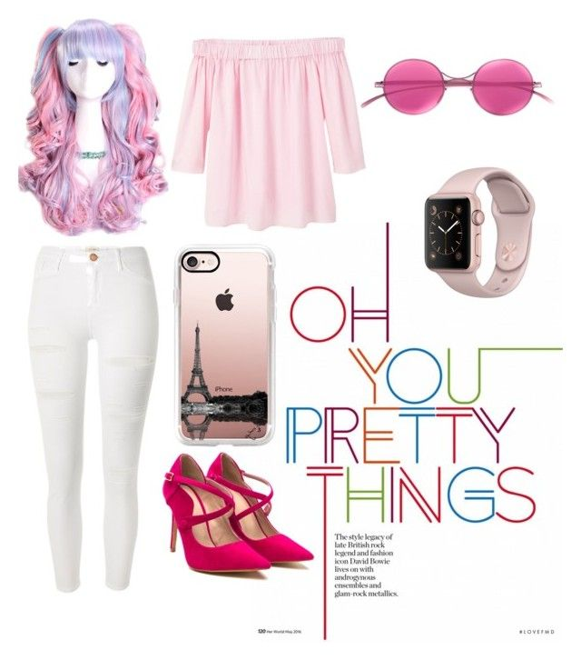 Casual Pink by sheliniap on Polyvore featuring polyvore fashion style MANGO River Island Casetify Mykita clothing IWearPinkFor