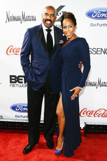 Steve Harvey and Marjorie Harvey attend Screen Gems Presents The Steve & Marjorie Harvey Foundation Gala at Cipriani Wall Street in New York City.