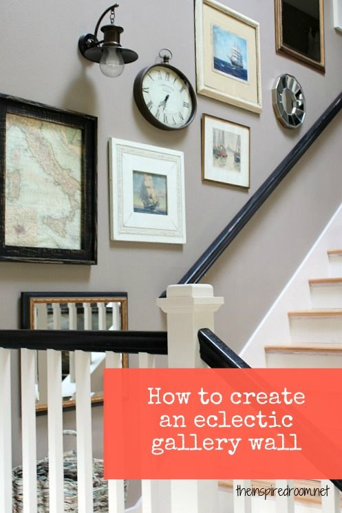 how to create an eclectic gallery stair wall