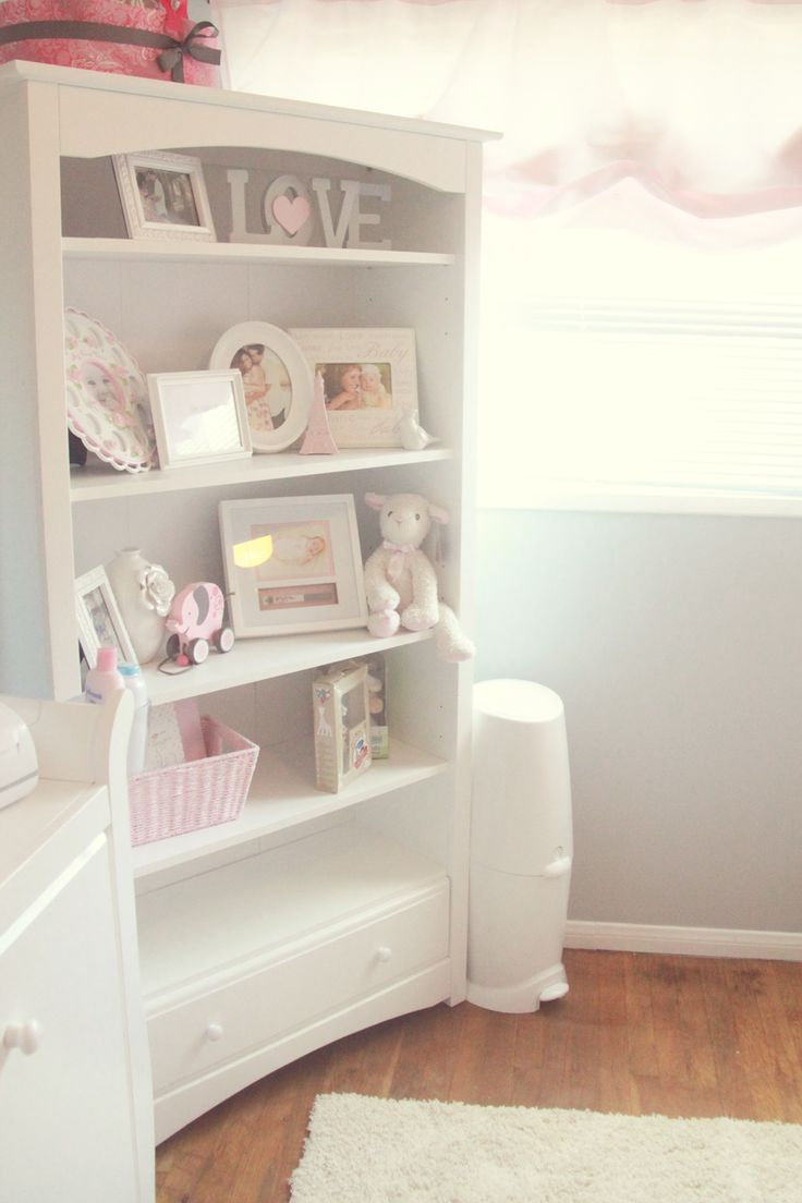 Pretty Pink Gray And White Nursery The Little Umbrella Adorable Bookshelf Decor