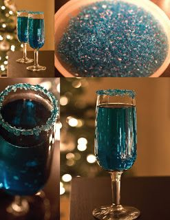 Blue Sparkling Star   Ingredients      2 ounces orange infused vodca     2 ounces blue curacao     champagne   Directions      Rim 2 champagne glasses with blue sanding sugar.     Pour 1 ounce orange infused vodka into each of the prepared champagne glasses.     Pour 1 once blue curaçao into each into each of the prepared champagne glasses.     Top each glass with champagne