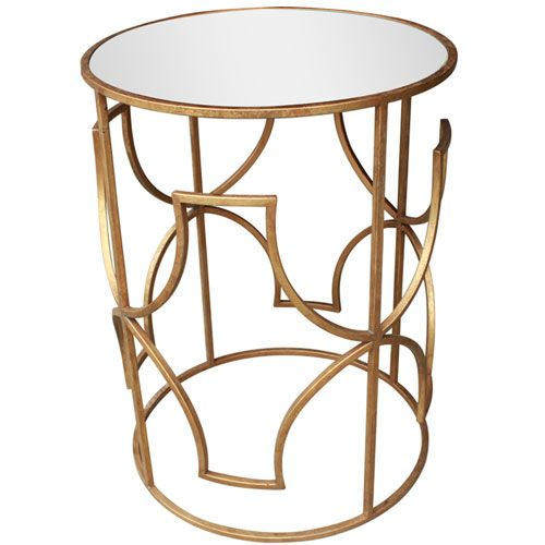 Round Gold Catherine Mirror Side Table