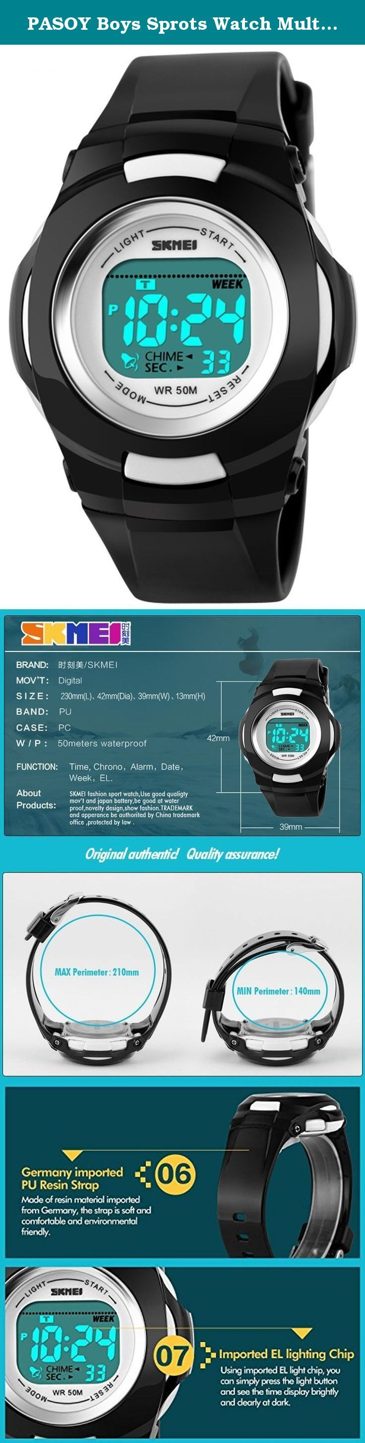 PASOY Boys Sprots Watch Multi-functional Waterproof Swim Backlight Alarm Girls Silicone Strap Watches. fashion style for children High Quality plastic Band,durable and pratice, gives you a new classic definition. Multifunction: colorful led back light, alarm, chronograph, date, week. Scratchless glass, shock resistant, quality plastic band, soft and comfortable Water resistant to 164 feet (50M),suitable for snorkeling, as well as swimming, not diving .