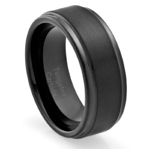 8MM Men's Tungsten Carbide Ring Wedding Band Black Plated and Grooved Edges [Size 10] (Available in Sizes 8 to 16)