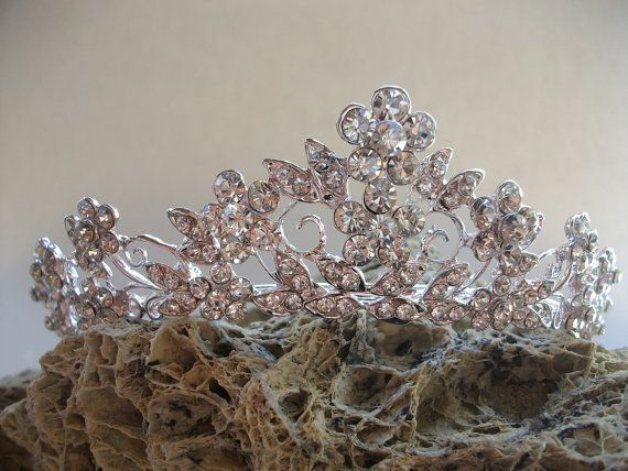 Bridal Tiara Crystal Wedding Crown Swarovski by DesignByIrenne