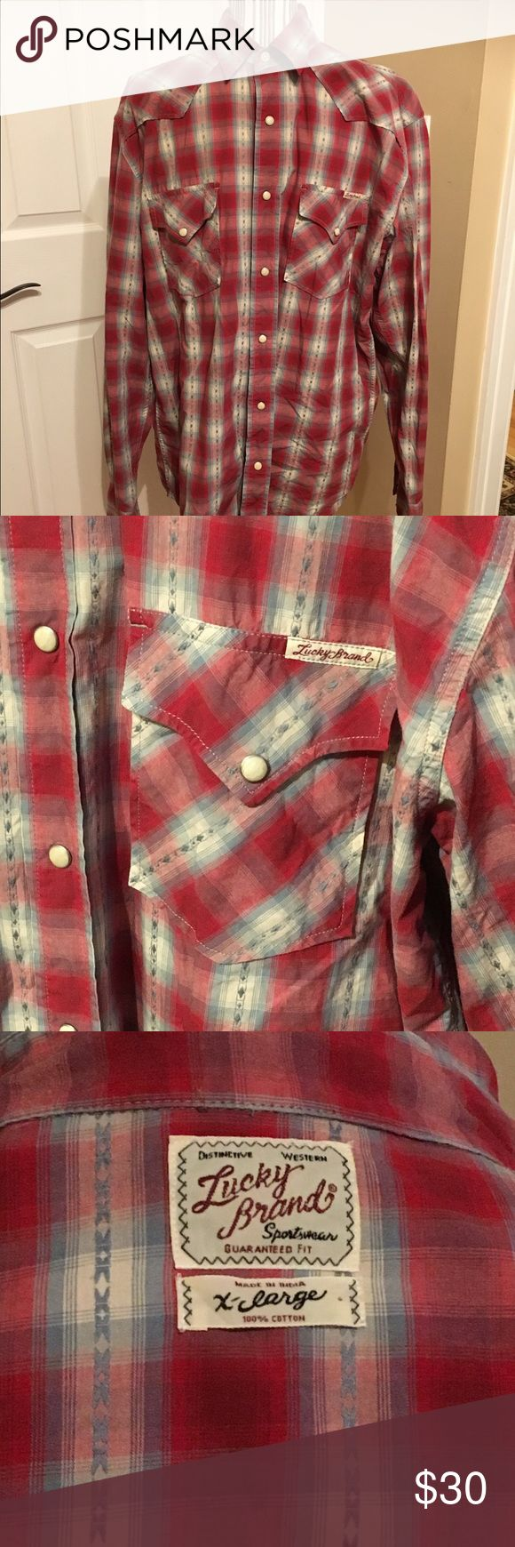 Men's Red Plaid Lucky Brand Button Down Red Plaid Shirt in Excellent Condition- 100% Cotton Lucky Brand Shirts Casual Button Down Shirts