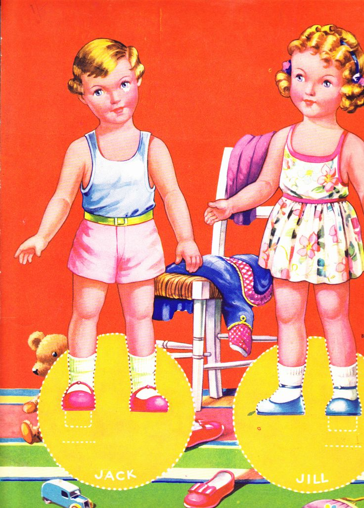 Back Cover of Party Time published by Birn Brothers. No. 519A The two dolls are Jack and Jill