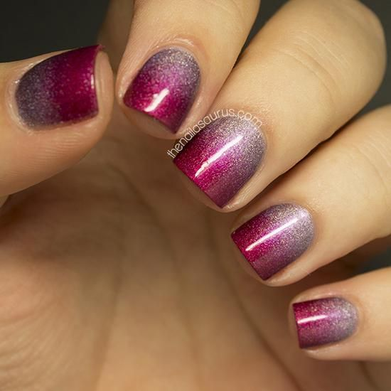 Holographic polishes are stunning enough on their own but blending two pretty shades together in a gradient is a real treat for the eyes! Click here to see how it's done!