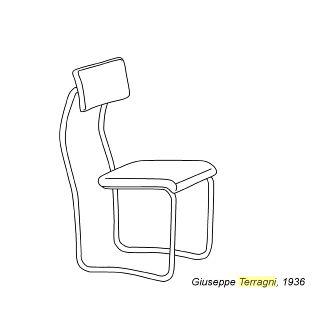 """einfache Skizze des Freihängerstuhls Lariana Spannedes über den Stuhl: Erst in den 1960er Jahren gingen die Stahlrohr Entwürfe von den zwischen 1932 und 1936 entworfenen Stühlen """"lariana"""", """"Sant'Elia"""" und """"Follia"""" von Giuseppe Terragni in Produktion. Produziert werden die Stühle von Zanotta Happenings"""
