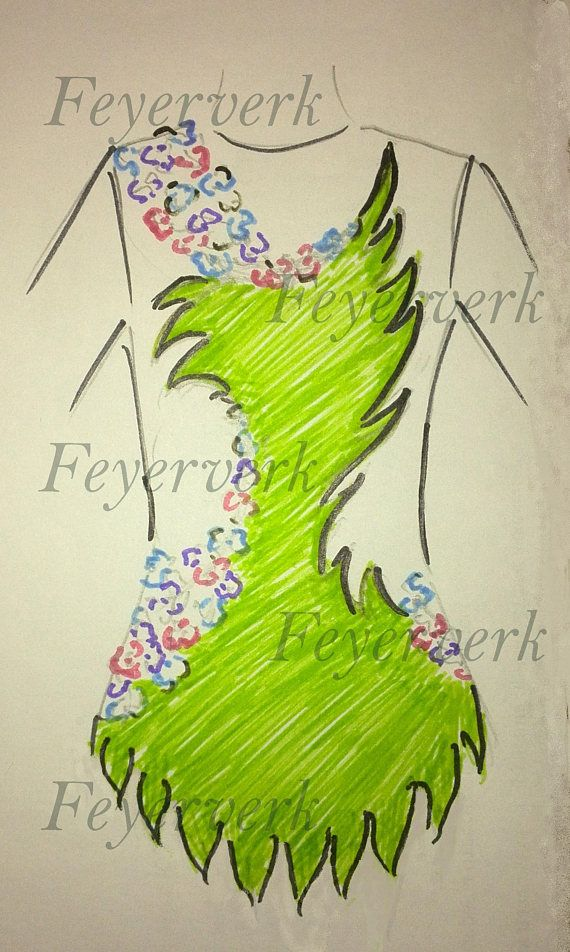 A sketch of a new model. The shown price is for the leotard of the smallest size (110 cm height) without rhinestones. It is possble make a leotard: - according to your measures - in colour combination you like - decorate it with as many rhinestones as you like The price depends on: - the