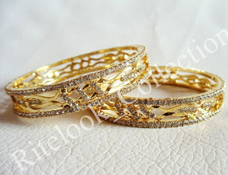 Bollywood Style Diamond Look Party Wear Gold Plated Bracelet / Bangle, CZ Stone