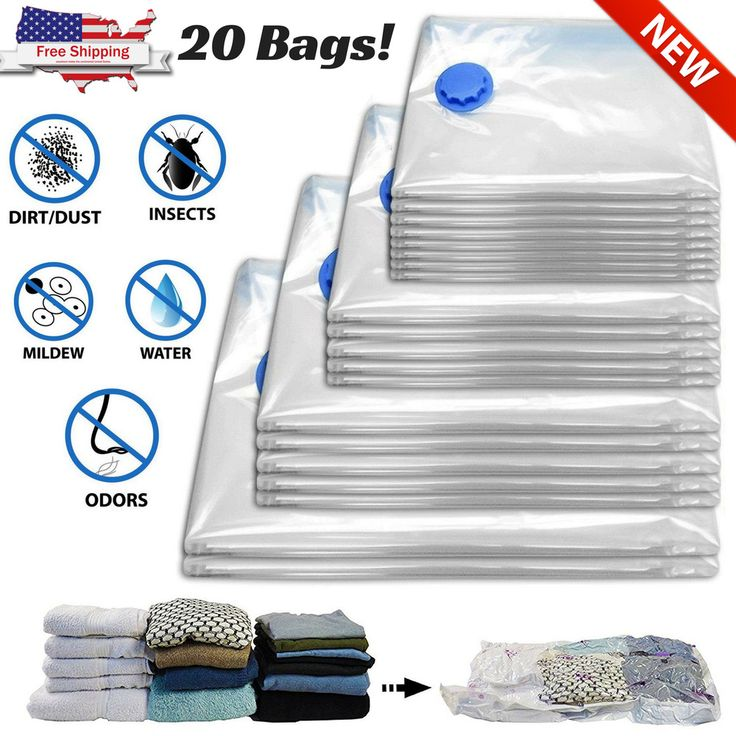 20 Vacuum Sealer Storage Bags For Clothes Organizer Space Bags Home Travel Seal #SpaceSaverAirtightBags