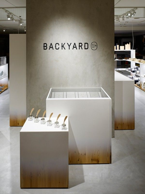"Gradients + Plywood = Nendo's Design for Backyard by | n Totally loving the gradient paintwork on the display boxes in the new Backyard boutiqe, designed by Nendo. I'm thinking of using the idea for a headboard for my bed, or maybe just a big sheet of plywood with hooks attached to it, for hallway storage... ""The shop design for by 