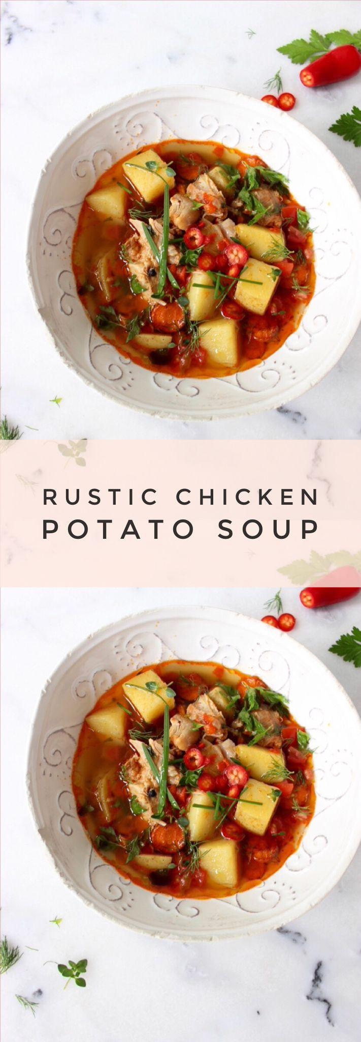 Rustic Chicken & Potato Soup Recipe | CiaoFlorentina.com @CiaoFlorentina