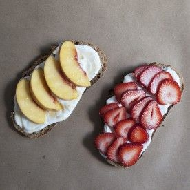 a quick spread of siggi's yogurt on whole grain toast makes a great base for seasonal fruit and a quick breakfast