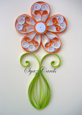 """Flower"" - quilled design -  blogged by:Syaz Cards"