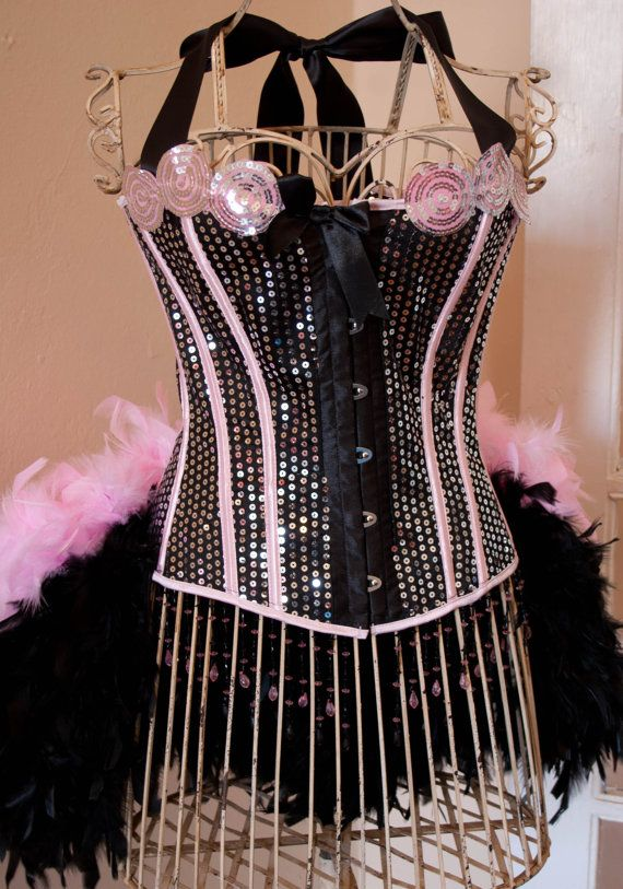PRINCESS  pink black Circus Corset Burlesque Costume by olgaitaly, $155.00