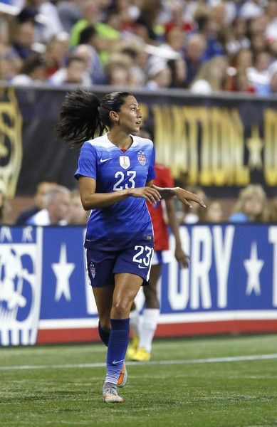 Christen Press #23 of the United States during the first half of the U.S. Women's 2015 World Cup victory tour match against Haiti at Ford Field on September 17, 2015, in Detroit, Michigan.