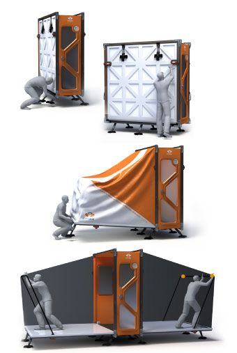 Housing the Displaced CMAX | an emergency shelter that combines advantages of tents with those of trailers. It ships and stores flat like a tent, and two people can set one up in 11 minutes.