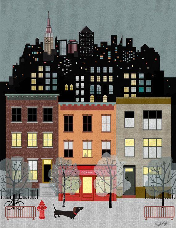 NewYork Night/City dog/Poster/Art/Illustration by Chulart on Etsy