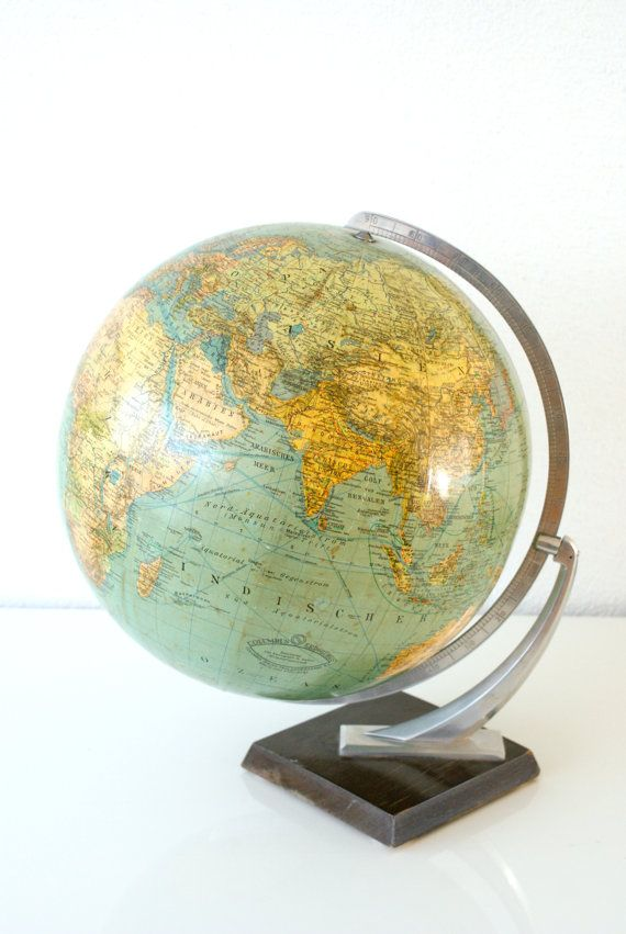 MIDCENTURY WORLD GLOBE Late 1940s Old Vintage by CurialVintage, 129.00