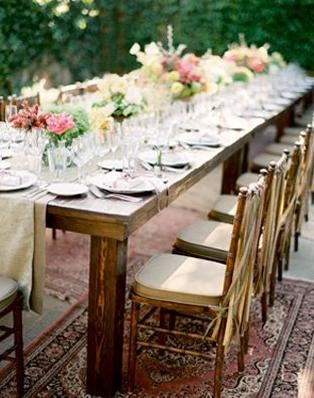Table settingOutdoor Wedding, Ideas, Tables Sets, Farmhouse Table, Rustic Table, Wood Tables, Wedding Reception, Wooden Tables, Farms Tables
