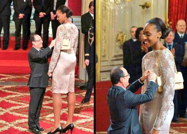 Hollande awards Sandrine Gruda meme